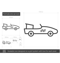 Formula one car line icon vector