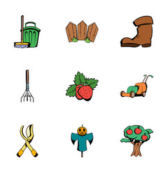 garden work icons set cartoon style vector image vector image