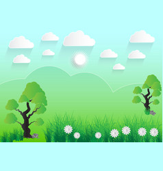 Green landscape meadow with trees rocks sky and vector