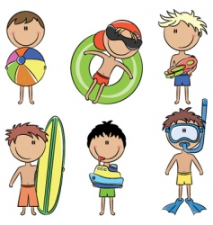 happy kids on the beach vector image vector image