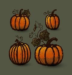 Ink hand drawn pumpkins set vector image