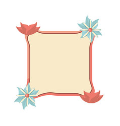 Label with flower ribbon decoration template vector