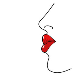 line art of woman lips vector image vector image