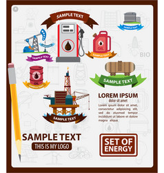 oil logos with ribbon oil industry vector image