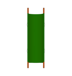 retro stretcher in green design with wooden handle vector image vector image
