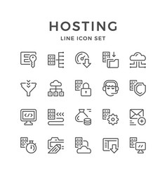set line icons of hosting vector image