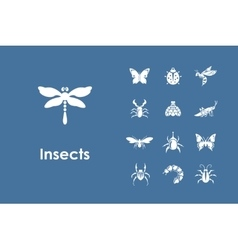 Set of insects simple icons vector image