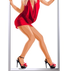 Sexy slim woman legs and red dress vector image