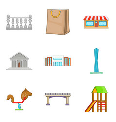 Significant place icons set cartoon style vector