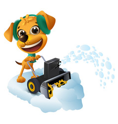 snow removal yellow dog cleans snow with snow vector image vector image