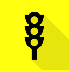 Traffic light sign black icon with flat style vector