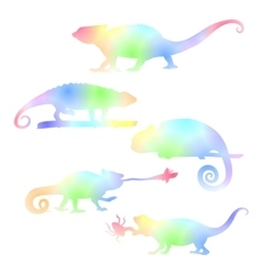 Watecolor set of chameleons vector