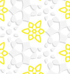 White geometrical floristic with yellow layering vector