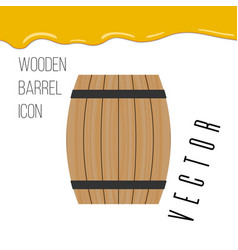 Wooden barrel icon with honey drops vector