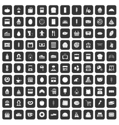 100 bakery icons set black vector