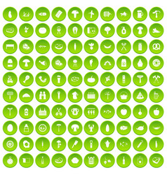 100 barbecue icons set green vector