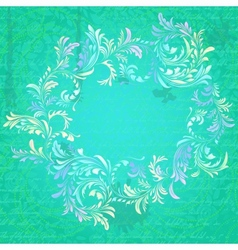 Antique turquoise floral frame on grungy parchment vector