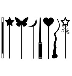 set of different magic wands vector image
