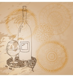 Wine Bottle And Glass With The Doodle Circular vector image