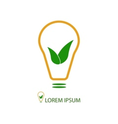 Bulb with green leaves as eco energy sign vector