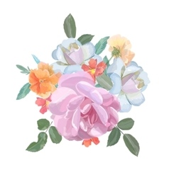Watercolor greeting card with roses for vector