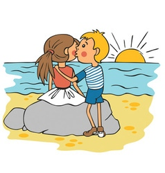 boy kissing girl on cheek at sunset vector image