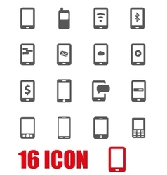 grey mobile icon set vector image