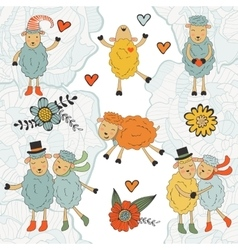 Stunning collection of hand drawn sheeps vector