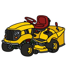 Yellow garden lawn mower vector