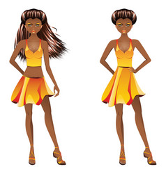 afro american girl in dress vector image vector image