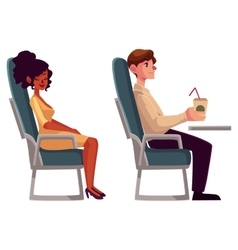 Airplane passengers - black african woman and man vector