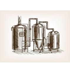 Beer brewing sketch vector