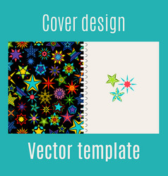 Cover design with kaleidoscope stars vector