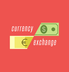 currency exchange logo dollar bill and euro vector image