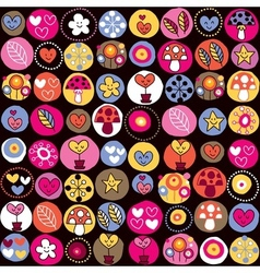 cute hearts mushrooms flowers pattern vector image vector image