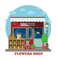 Flower shop or store side view vector