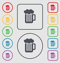 Glass of beer with foam icon sign symbol on the vector