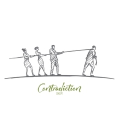 Hand drawn people pulling rope to different sides vector image vector image