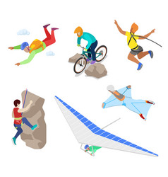 isometric extreme sports people with bungee vector image vector image