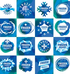 Large set of logos for frozen products vector