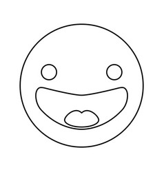 line happy face emoji icon vector image