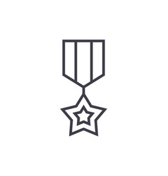 medal star line icon sign on vector image