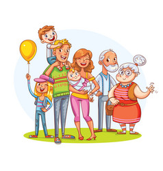 My big family together funny cartoon character vector