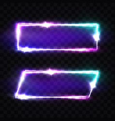Night club neon signs set blank retro light frame vector