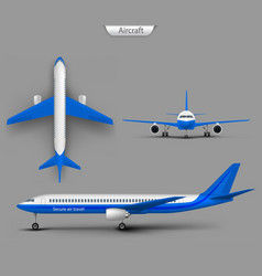 passenger airplane template vector image vector image