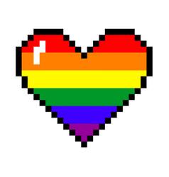 Rainbow pixel heart vector