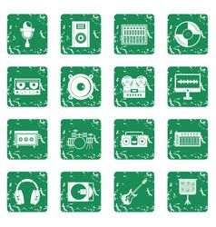 Recording studio items icons set grunge vector