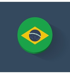 Round icon with flag of brazil vector