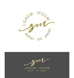 s m handdrawn brush monogram calligraphy logo vector image