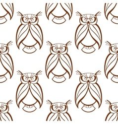 Seamless background pattern with brown owls vector image